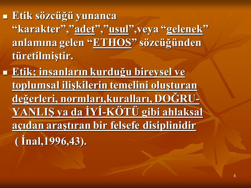 4 Etik sözcüğü yunanca karakter , adet , usul ,veya gelenek anlamına gelen ETHOS sözcüğünden türetilmiştir.