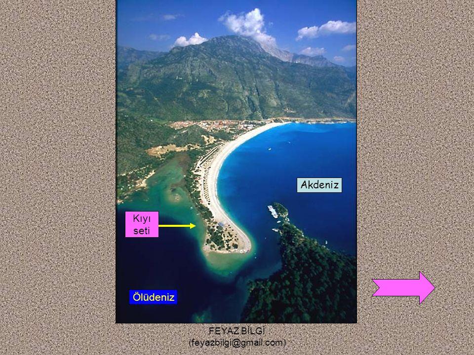 FEYAZ BİLGİ (feyazbilgi@gmail.com) 3-Lagün ( Kıyı set gölü ) : Kıyı okunun zamanla ilerleyerek bir koyun ağzını kapamasıyla oluşan göllerdir. Örnek :