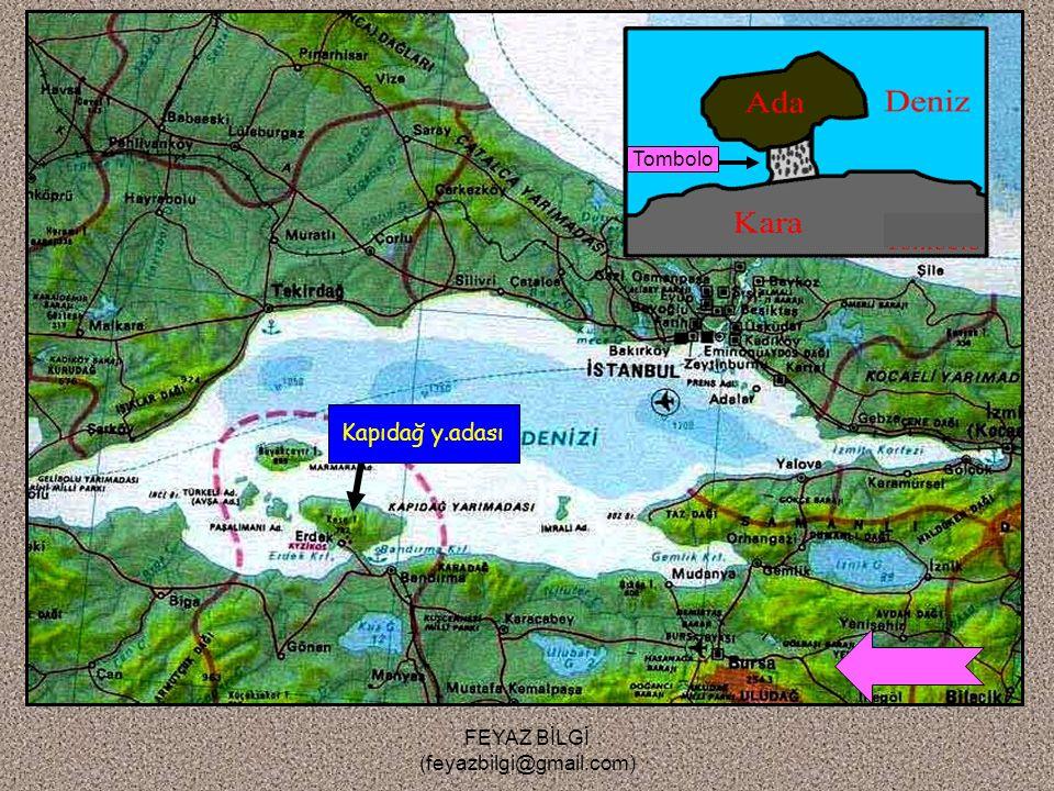 FEYAZ BİLGİ (feyazbilgi@gmail.com) 4-Tombolo ( Bağlama seti ) : Kıyı okunun ilerleyerek bir adayı karaya bağlayarak oluşturduğu yarımadaya denir. Örne