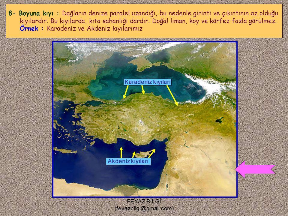 FEYAZ BİLGİ (feyazbilgi@gmail.com) Ege denizi kıyıları 7- Enine kıyı : Denize dik uzanan dağlar arasındaki vadilerin çökerek deniz altında kalmasıyla