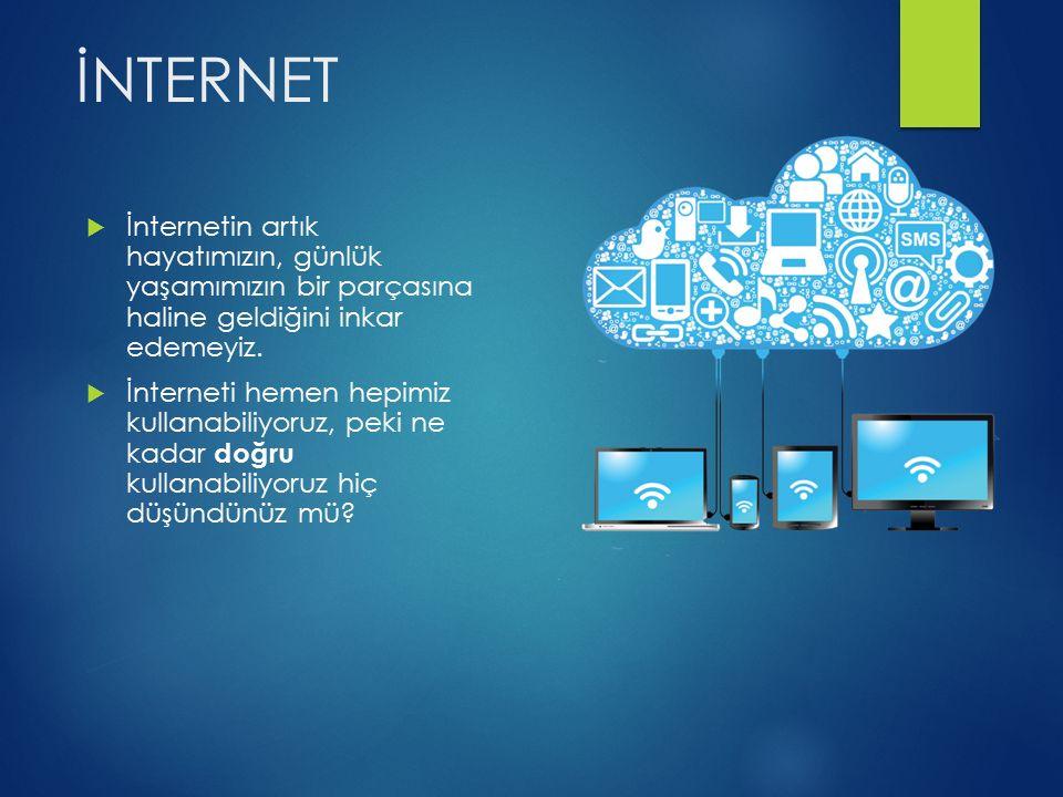 İNTERNET  İnternetin artık hayatımızın, günlük yaşamımızın bir parçasına haline geldiğini inkar edemeyiz.