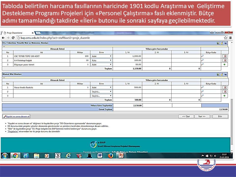 Tabloda belirtilen harcama fasıllarının haricinde 1901 kodlu Araştırma ve Geliştirme Destekleme Programı Projeleri için «Personel Çalıştırma» faslı ek