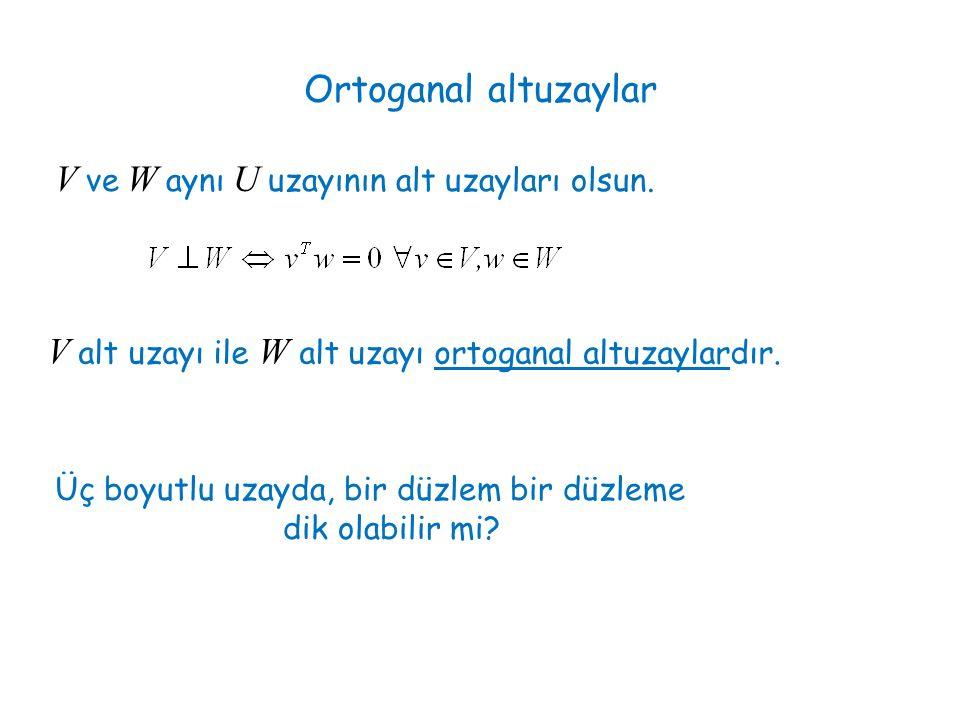 Ortoganal altuzaylar V ve W aynı U uzayının alt uzayları olsun.