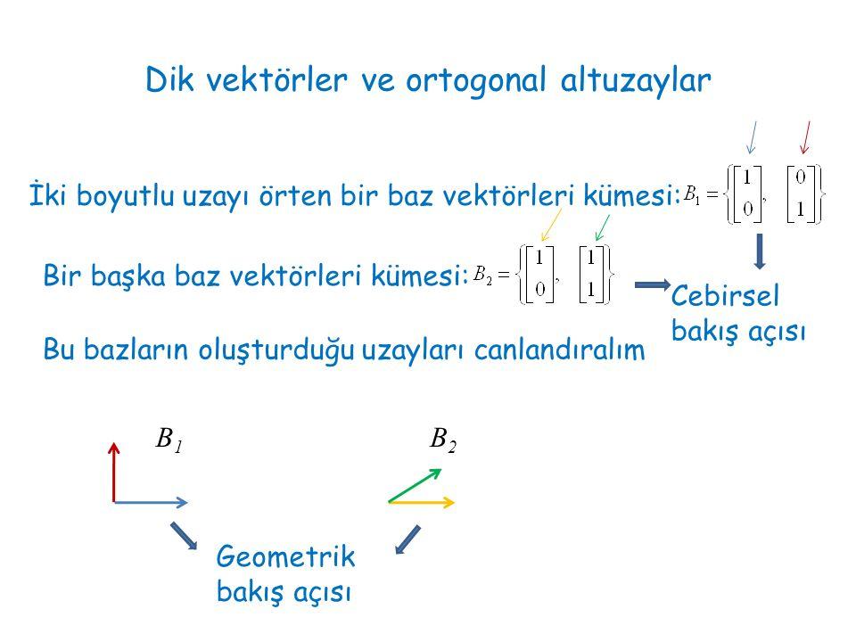 Dik vektörler ve ortogonal altuzaylar İki boyutlu uzayı örten bir baz vektörleri kümesi: Bir başka baz vektörleri kümesi: Bu bazların oluşturduğu uzayları canlandıralım B1B1 B2B2 Cebirsel bakış açısı Geometrik bakış açısı