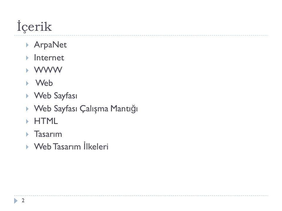 İçerik  ArpaNet  Internet  WWW  Web  Web Sayfası  Web Sayfası Çalışma Mantı ğ ı  HTML  Tasarım  Web Tasarım İ lkeleri 2