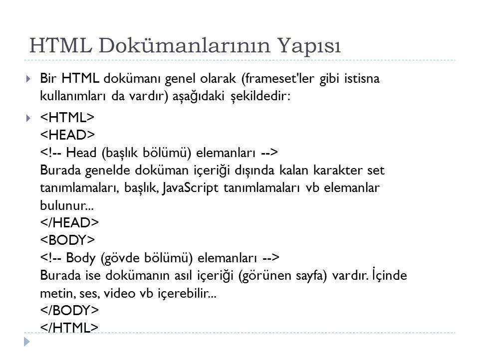  Bir HTML dokümanı genel olarak (frameset ler gibi istisna kullanımları da vardır) aşa ğ ıdaki şekildedir:  Burada genelde doküman içeri ğ i dışında kalan karakter set tanımlamaları, başlık, JavaScript tanımlamaları vb elemanlar bulunur...