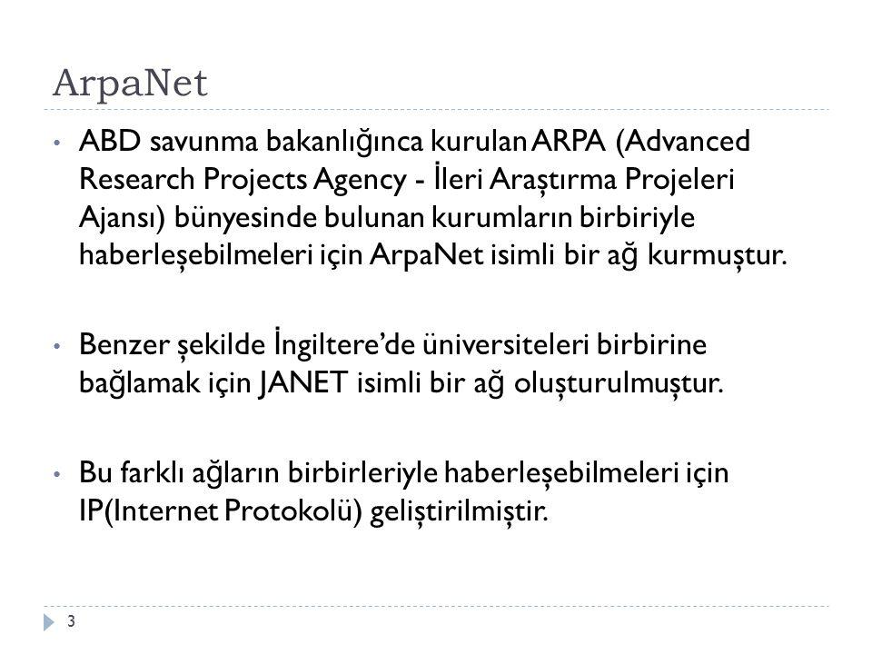 ArpaNet ABD savunma bakanlı ğ ınca kurulan ARPA (Advanced Research Projects Agency - İ leri Araştırma Projeleri Ajansı) bünyesinde bulunan kurumların birbiriyle haberleşebilmeleri için ArpaNet isimli bir a ğ kurmuştur.