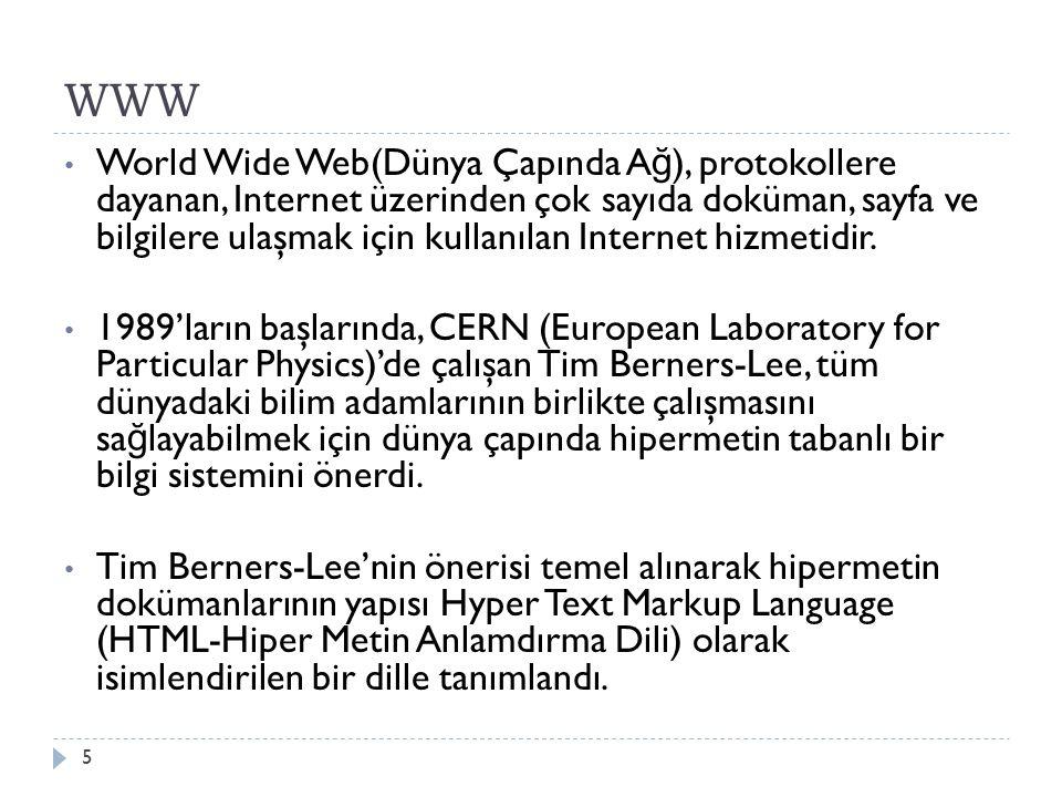 WWW World Wide Web(Dünya Çapında A ğ ), protokollere dayanan, Internet üzerinden çok sayıda doküman, sayfa ve bilgilere ulaşmak için kullanılan Internet hizmetidir.