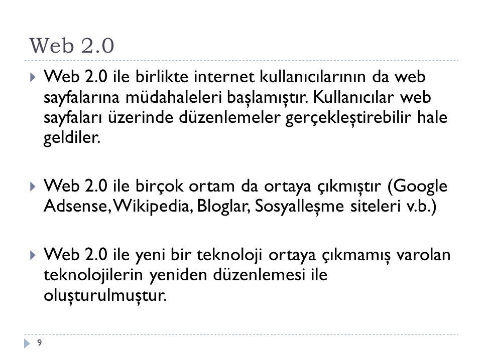 Web 2.0  Web 2.0 ile birlikte internet kullanıcılarının da web sayfalarına müdahaleleri başlamıştır.