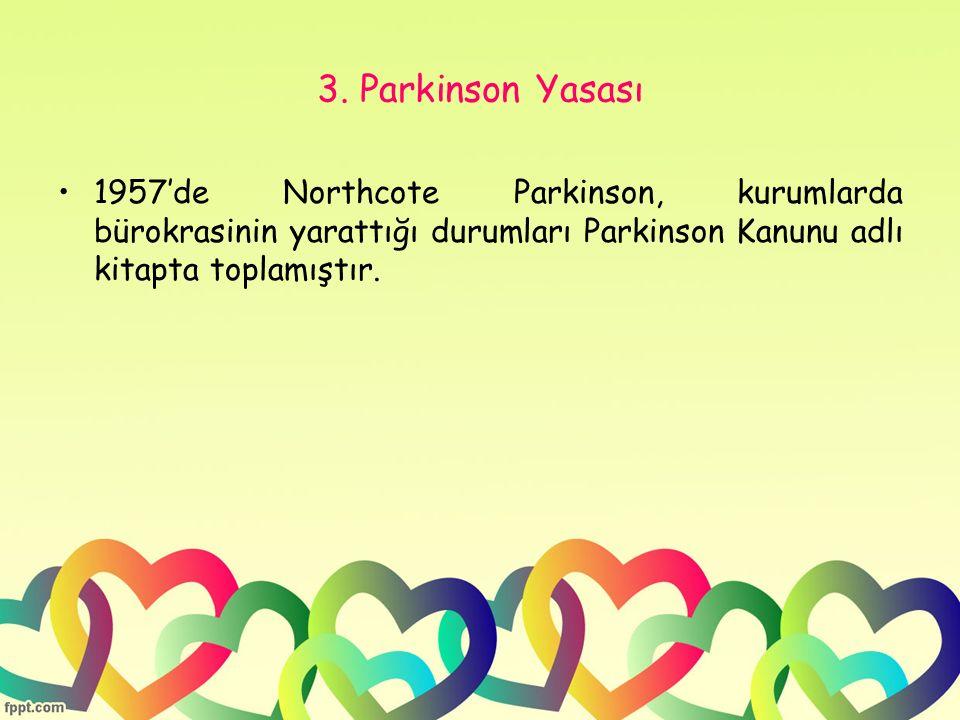 3. Parkinson Yasası 1957'de Northcote Parkinson, kurumlarda bürokrasinin yarattığı durumları Parkinson Kanunu adlı kitapta toplamıştır.