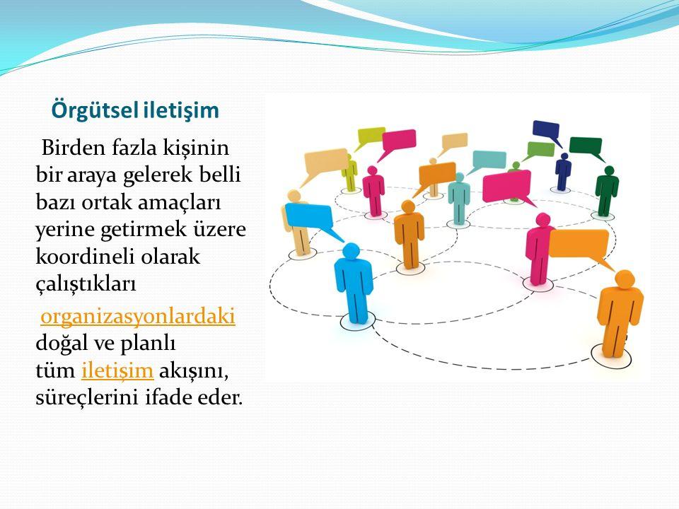 Örgütsel iletişim Birden fazla kişinin bir araya gelerek belli bazı ortak amaçları yerine getirmek üzere koordineli olarak çalıştıkları organizasyonlardaki doğal ve planlı tüm iletişim akışını, süreçlerini ifade eder.organizasyonlardakiiletişim