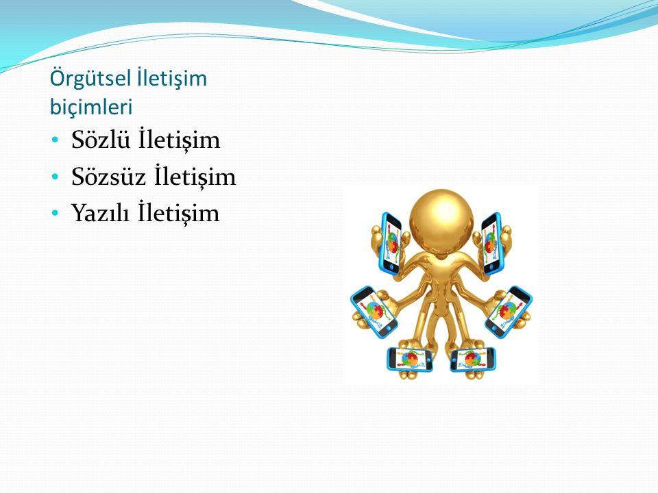 Örgütsel İletişim biçimleri Sözlü İletişim Sözsüz İletişim Yazılı İletişim