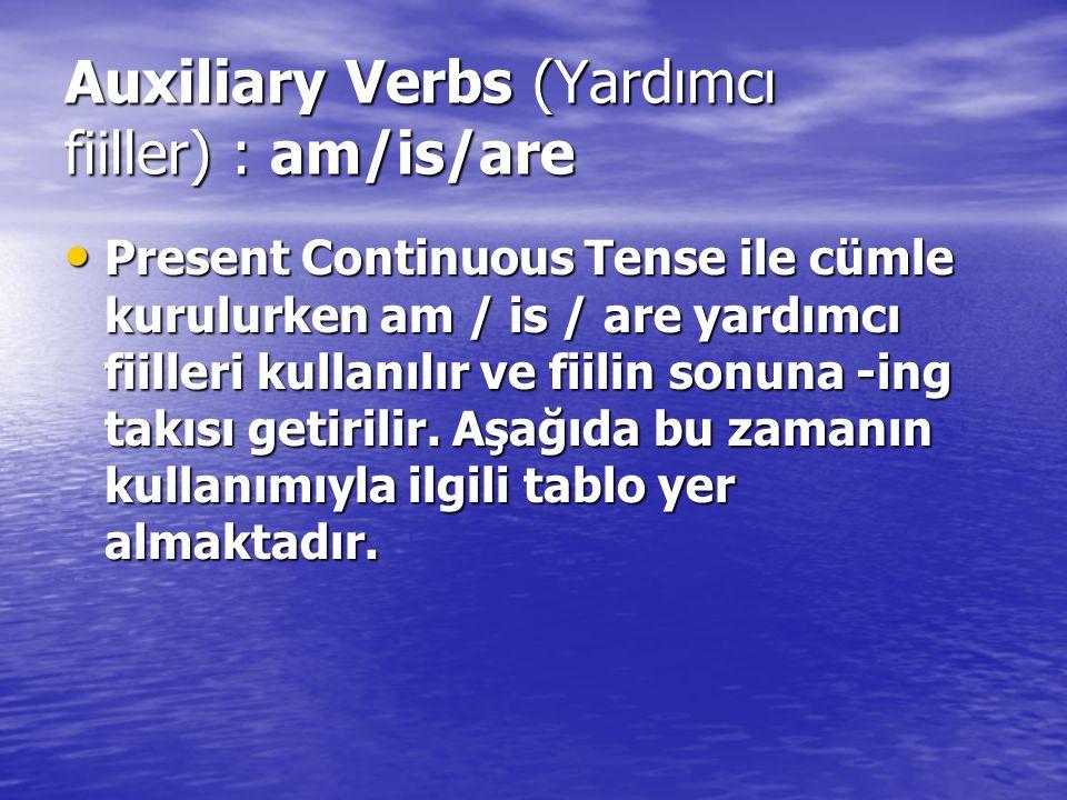 Auxiliary Verbs (Yardımcı fiiller) : am/is/are Present Continuous Tense ile cümle kurulurken am / is / are yardımcı fiilleri kullanılır ve fiilin sonuna -ing takısı getirilir.