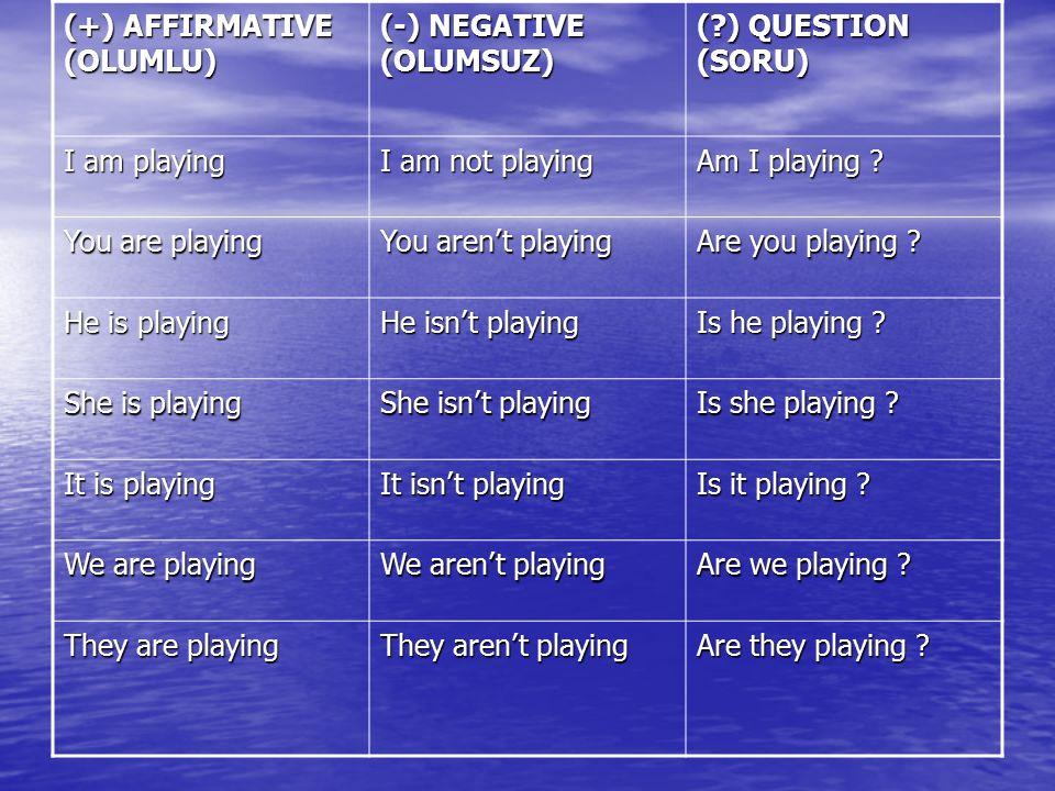 (+) AFFIRMATIVE (OLUMLU) (-) NEGATIVE (OLUMSUZ) (?) QUESTION (SORU) I am playing I am not playing Am I playing ? You are playing You aren't playing Ar