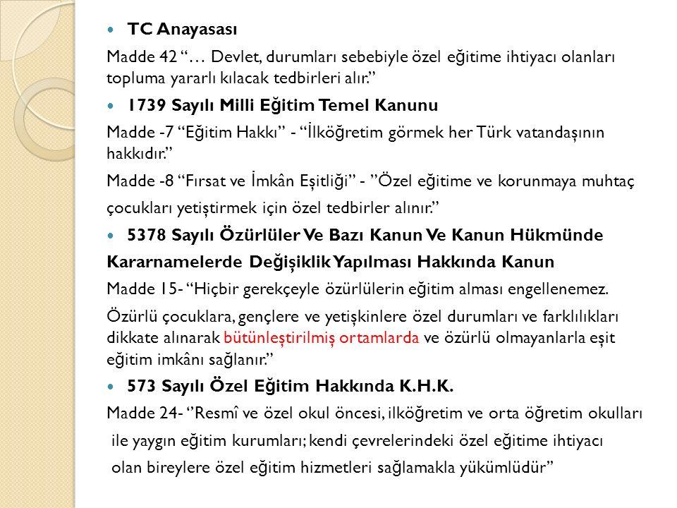"""TC Anayasası Madde 42 """"… Devlet, durumları sebebiyle özel e ğ itime ihtiyacı olanları topluma yararlı kılacak tedbirleri alır."""" 1739 Sayılı Milli E ğ"""