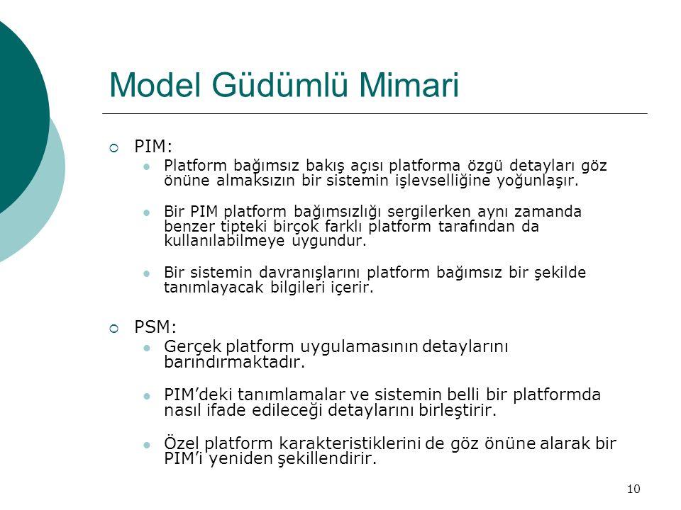 10 Model Güdümlü Mimari  PIM: Platform bağımsız bakış açısı platforma özgü detayları göz önüne almaksızın bir sistemin işlevselliğine yoğunlaşır. Bir