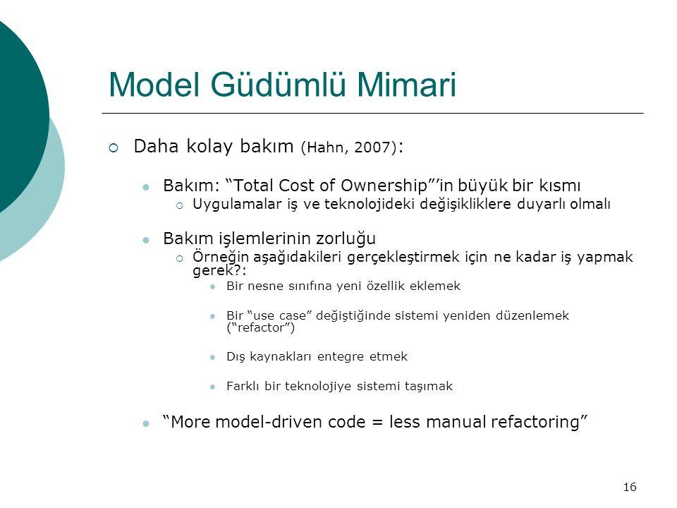 """16 Model Güdümlü Mimari  Daha kolay bakım (Hahn, 2007) : Bakım: """"Total Cost of Ownership""""'in büyük bir kısmı  Uygulamalar iş ve teknolojideki değişi"""