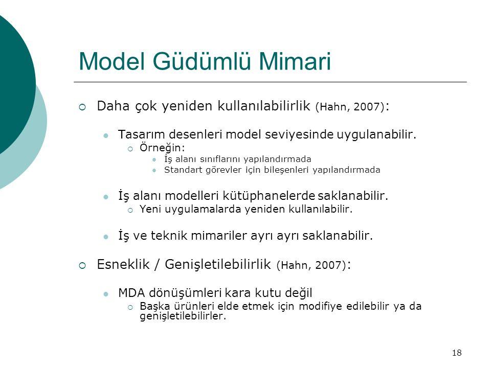 18 Model Güdümlü Mimari  Daha çok yeniden kullanılabilirlik (Hahn, 2007) : Tasarım desenleri model seviyesinde uygulanabilir.  Örneğin: İş alanı sın