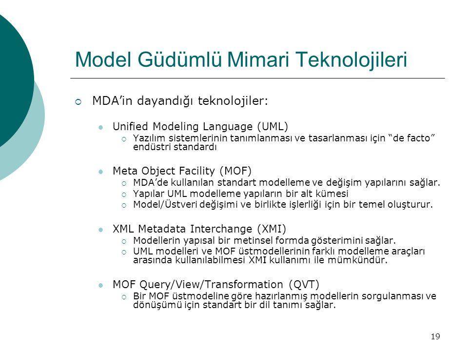 19 Model Güdümlü Mimari Teknolojileri  MDA'in dayandığı teknolojiler: Unified Modeling Language (UML)  Yazılım sistemlerinin tanımlanması ve tasarla