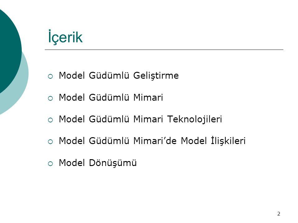 2 İçerik  Model Güdümlü Geliştirme  Model Güdümlü Mimari  Model Güdümlü Mimari Teknolojileri  Model Güdümlü Mimari'de Model İlişkileri  Model Dön