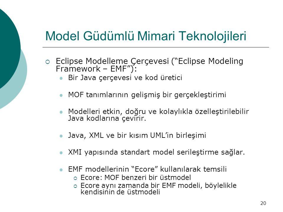 """20 Model Güdümlü Mimari Teknolojileri  Eclipse Modelleme Çerçevesi (""""Eclipse Modeling Framework – EMF""""): Bir Java çerçevesi ve kod üretici MOF tanıml"""