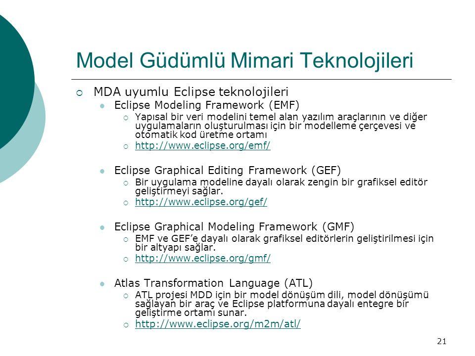 21 Model Güdümlü Mimari Teknolojileri  MDA uyumlu Eclipse teknolojileri Eclipse Modeling Framework (EMF)  Yapısal bir veri modelini temel alan yazıl
