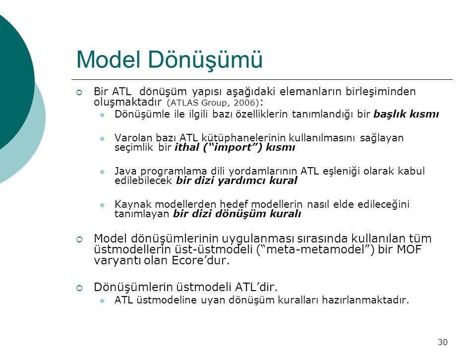 30 Model Dönüşümü  Bir ATL dönüşüm yapısı aşağıdaki elemanların birleşiminden oluşmaktadır (ATLAS Group, 2006) : Dönüşümle ile ilgili bazı özellikler