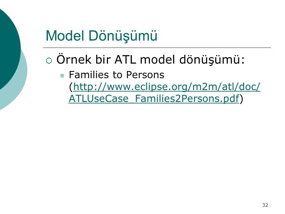 32 Model Dönüşümü  Örnek bir ATL model dönüşümü: Families to Persons (http://www.eclipse.org/m2m/atl/doc/ ATLUseCase_Families2Persons.pdf)http://www.