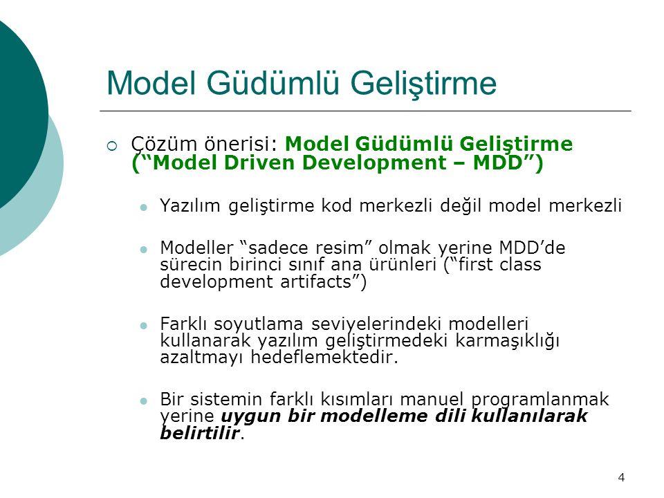 """4 Model Güdümlü Geliştirme  Çözüm önerisi: Model Güdümlü Geliştirme (""""Model Driven Development – MDD"""") Yazılım geliştirme kod merkezli değil model me"""