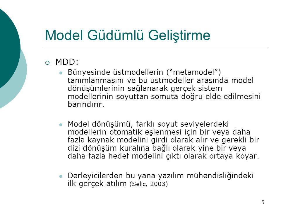 """5 Model Güdümlü Geliştirme  MDD: Bünyesinde üstmodellerin (""""metamodel"""") tanımlanmasını ve bu üstmodeller arasında model dönüşümlerinin sağlanarak ger"""
