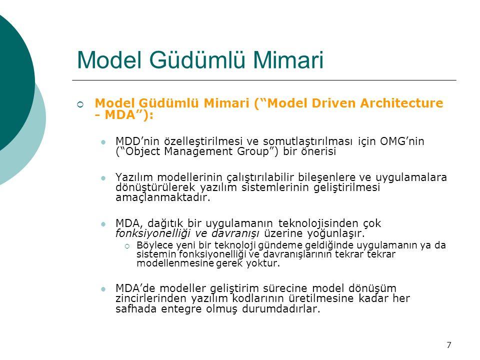 """7 Model Güdümlü Mimari  Model Güdümlü Mimari (""""Model Driven Architecture - MDA""""): MDD'nin özelleştirilmesi ve somutlaştırılması için OMG'nin (""""Object"""