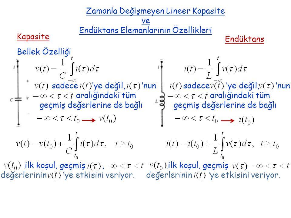 Zamanla Değişmeyen Lineer Kapasite ve Endüktans Elemanlarının Özellikleri Kapasite Endüktans Bellek Özelliği sadece 'ye değil, 'nun aralığındaki tüm g