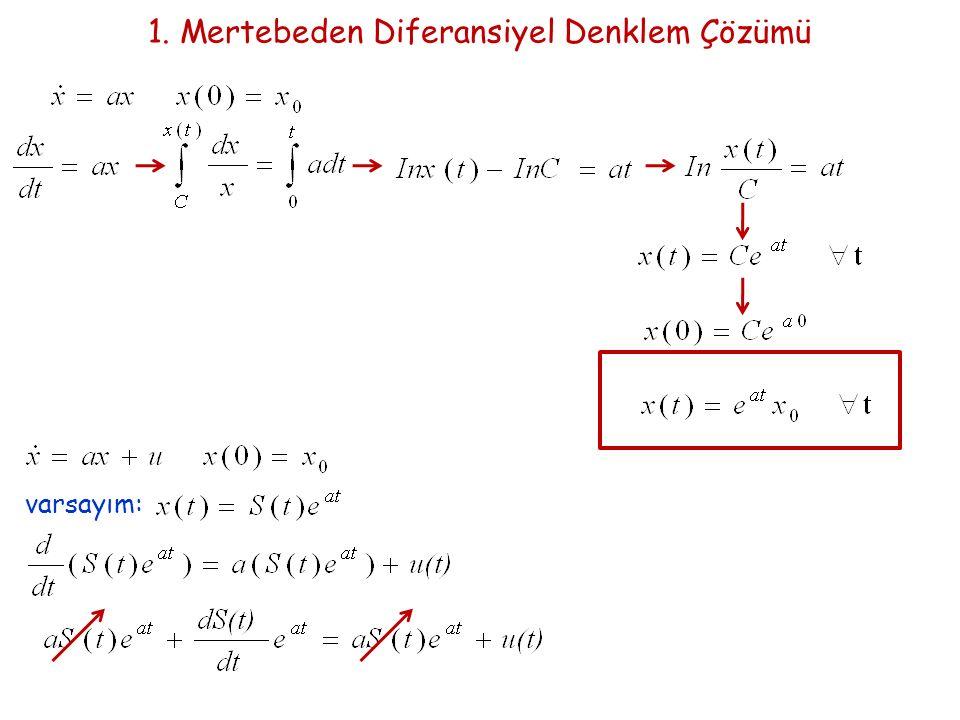 1. Mertebeden Diferansiyel Denklem Çözümü varsayım: