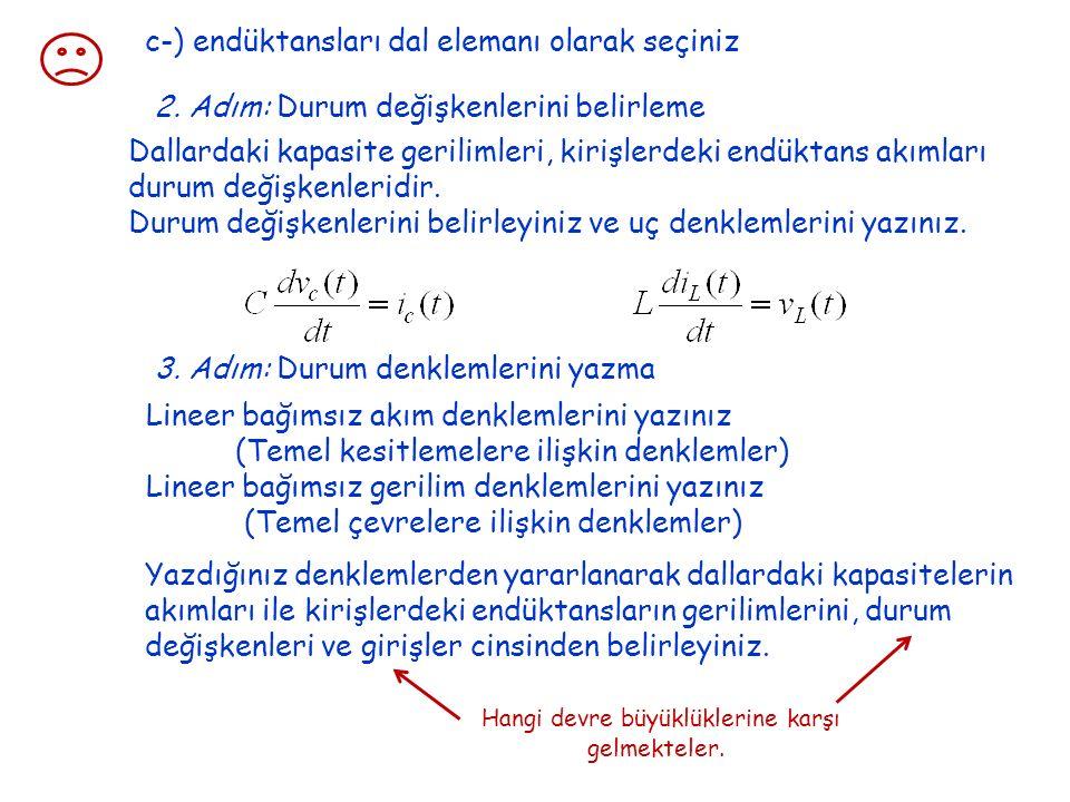 c-) endüktansları dal elemanı olarak seçiniz 2. Adım: Durum değişkenlerini belirleme Dallardaki kapasite gerilimleri, kirişlerdeki endüktans akımları