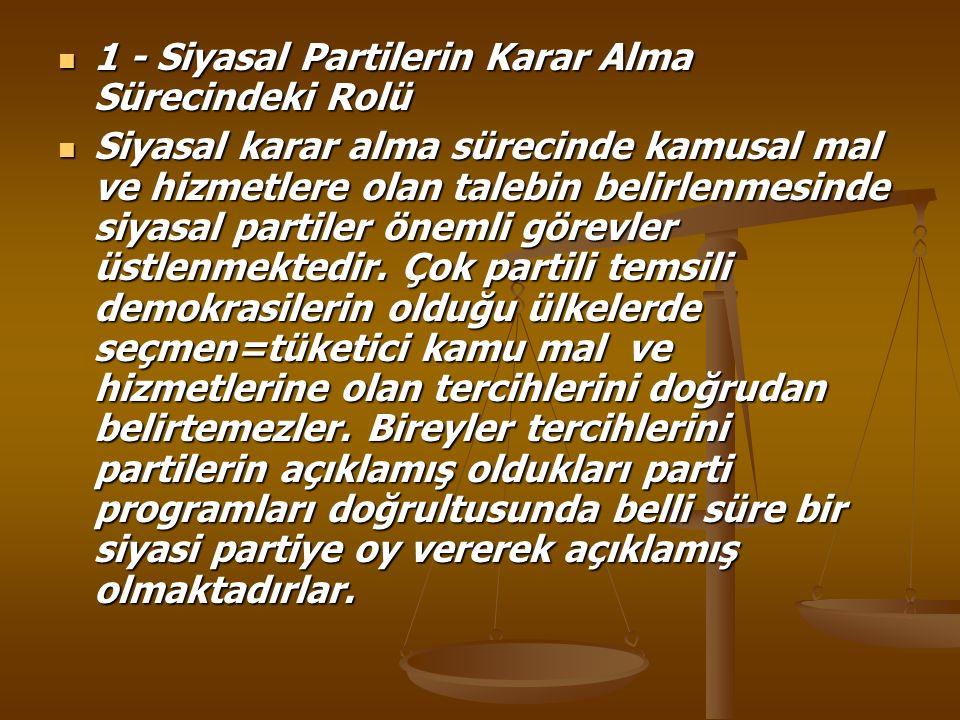 1 - Siyasal Partilerin Karar Alma Sürecindeki Rolü 1 - Siyasal Partilerin Karar Alma Sürecindeki Rolü Siyasal karar alma sürecinde kamusal mal ve hizm