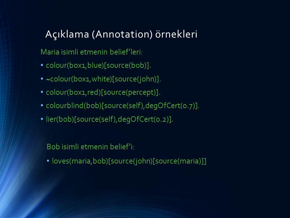 Açıklama (Annotation) örnekleri Maria isimli etmenin belief'leri: colour(box1,blue)[source(bob)]. ~colour(box1,white)[source(john)]. colour(box1,red)[
