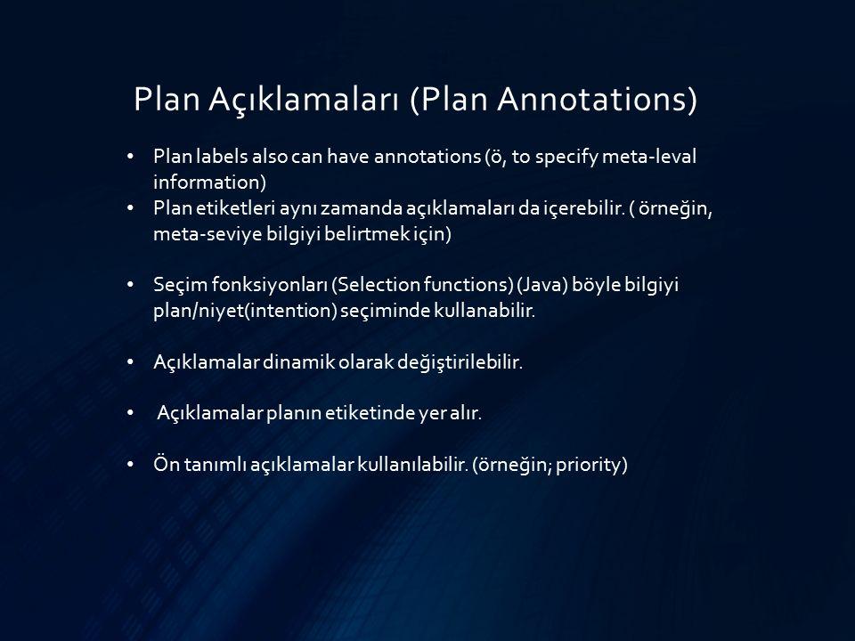 Plan Açıklamaları (Plan Annotations) Plan labels also can have annotations (ö, to specify meta-leval information) Plan etiketleri aynı zamanda açıklam