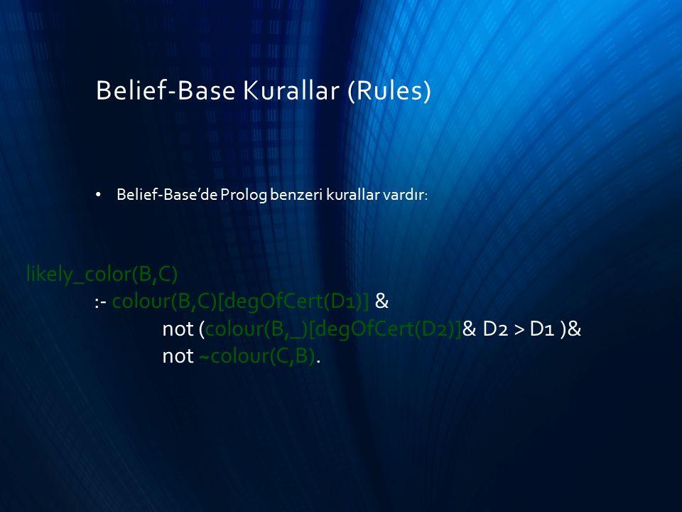 Belief-Base Kurallar (Rules) Belief-Base'de Prolog benzeri kurallar vardır: likely_color(B,C) :- colour(B,C)[degOfCert(D1)] & not (colour(B,_)[degOfCe