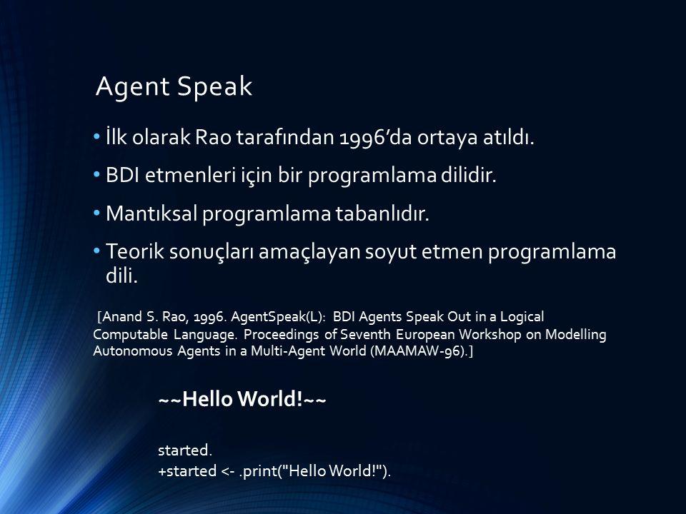 Agent Speak İlk olarak Rao tarafından 1996'da ortaya atıldı. BDI etmenleri için bir programlama dilidir. Mantıksal programlama tabanlıdır. Teorik sonu