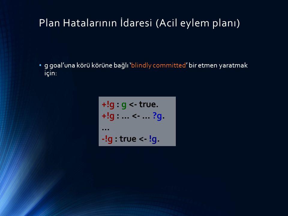 Plan Hatalarının İdaresi (Acil eylem planı) g goal'una körü körüne bağlı 'blindly committed' bir etmen yaratmak için: +!g : g <- true. +!g :... <-...