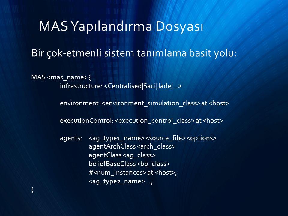 MAS Yapılandırma Dosyası Bir çok-etmenli sistem tanımlama basit yolu: MAS { infrastructure: environment: at executionControl: at agents: agentArchClas