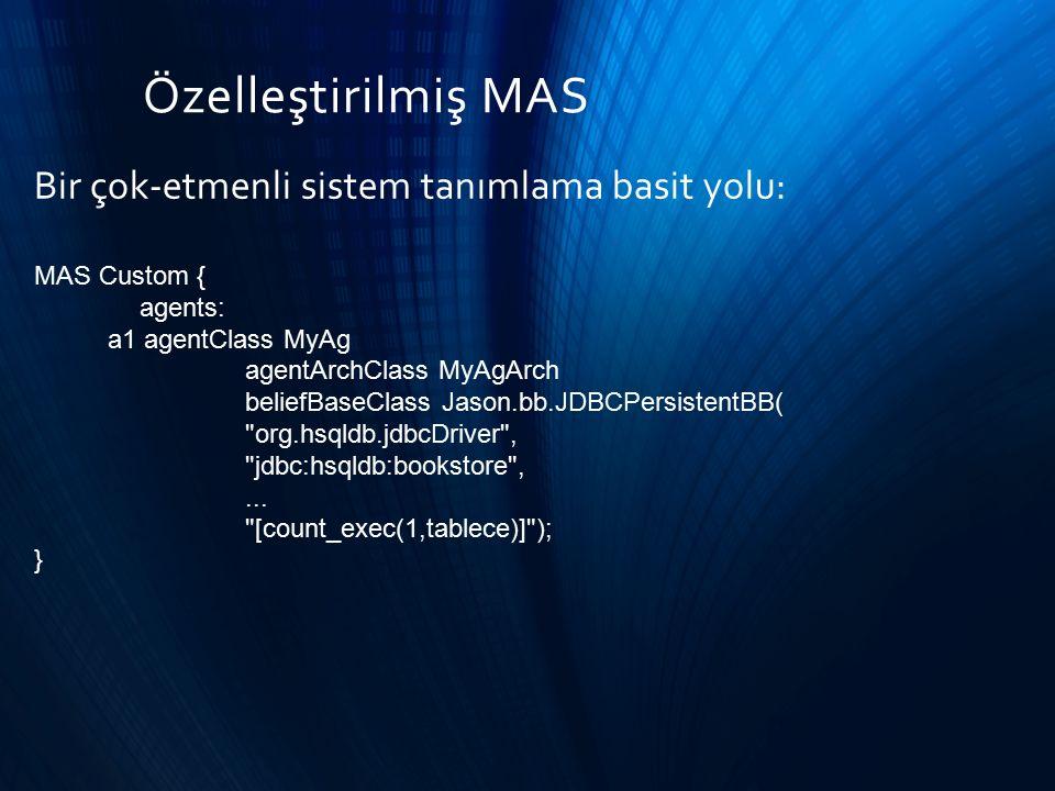 Özelleştirilmiş MAS Bir çok-etmenli sistem tanımlama basit yolu: MAS Custom { agents: a1 agentClass MyAg agentArchClass MyAgArch beliefBaseClass Jason