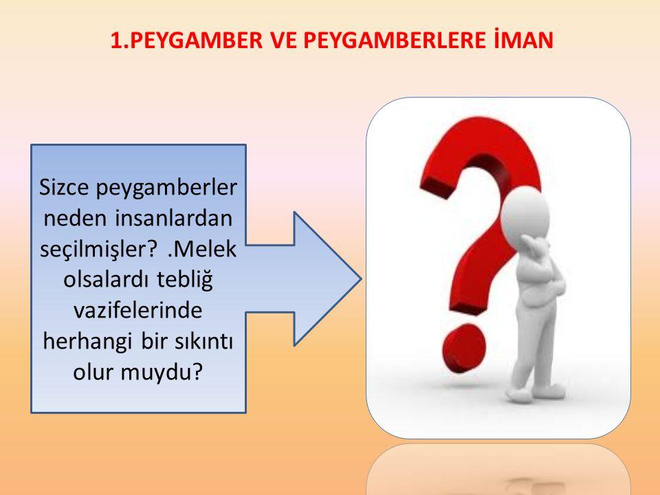 1.PEYGAMBER VE PEYGAMBERLERE İMAN Peygamberlere inanan, onların Allah tarafından seçildiğini ve insanlara rehberlik yapmak için gönderildiğini kabul e