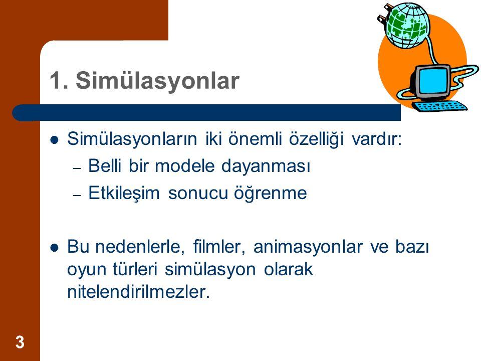 3 1. Simülasyonlar Simülasyonların iki önemli özelliği vardır: – Belli bir modele dayanması – Etkileşim sonucu öğrenme Bu nedenlerle, filmler, animasy
