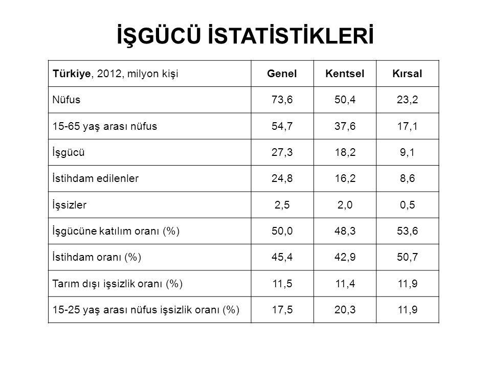İŞGÜCÜ İSTATİSTİKLERİ Türkiye, 2012, milyon kişiGenelKentselKırsal Nüfus73,650,423,2 15-65 yaş arası nüfus54,737,617,1 İşgücü27,318,29,1 İstihdam edilenler24,816,28,6 İşsizler2,52,00,5 İşgücüne katılım oranı (%)50,048,353,6 İstihdam oranı (%)45,442,950,7 Tarım dışı işsizlik oranı (%)11,511,411,9 15-25 yaş arası nüfus işsizlik oranı (%)17,520,311,9