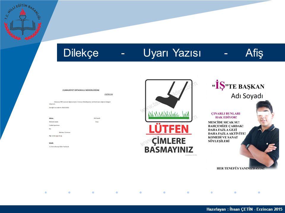 Hazırlayan : İhsan ÇETİN - Erzincan 2015 Kelime İşlemci Programları Microsoft Word Open Office Writer LibreOffice Writer