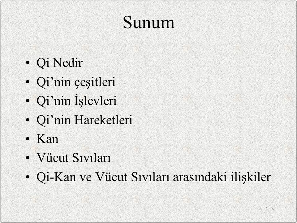 Sunum Qi Nedir Qi'nin çeşitleri Qi'nin İşlevleri Qi'nin Hareketleri Kan Vücut Sıvıları Qi-Kan ve Vücut Sıvıları arasındaki ilişkiler / 192