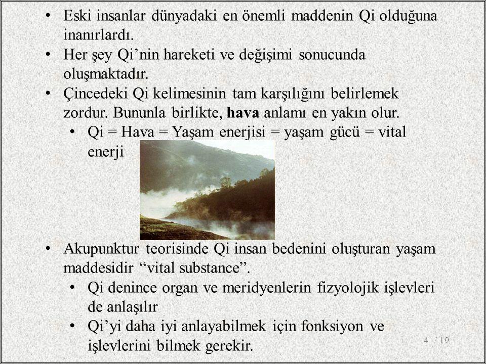 / 194 Eski insanlar dünyadaki en önemli maddenin Qi olduğuna inanırlardı. Her şey Qi'nin hareketi ve değişimi sonucunda oluşmaktadır. Çincedeki Qi kel
