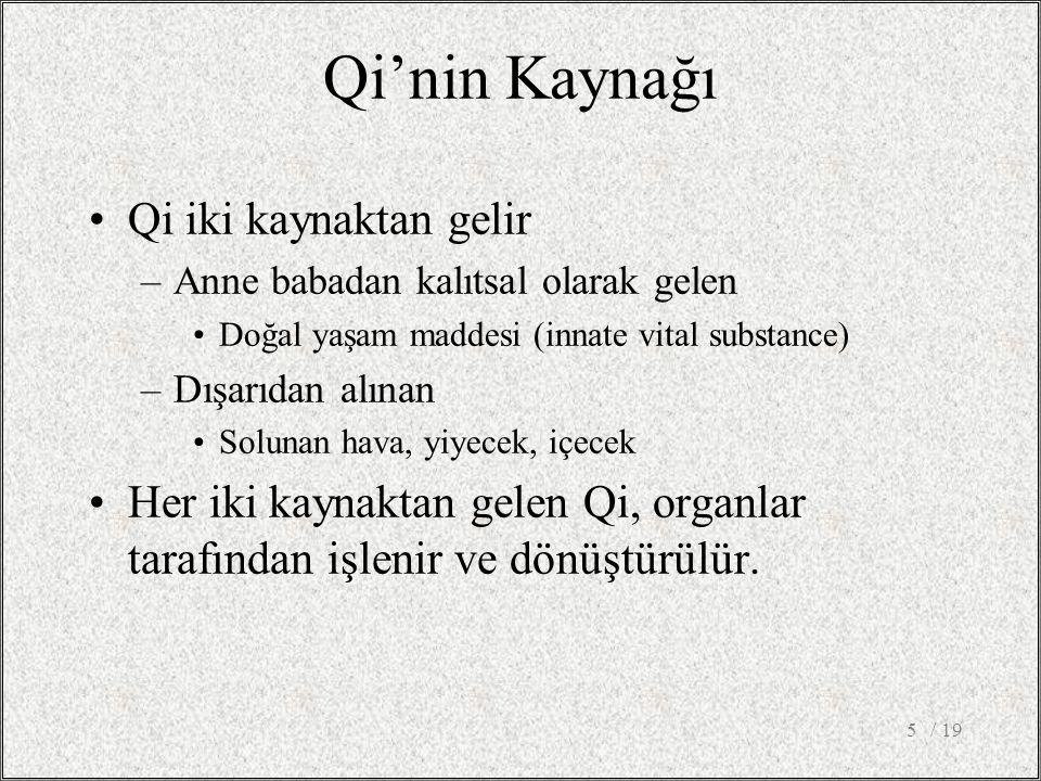 Qi'nin Kaynağı Qi iki kaynaktan gelir –Anne babadan kalıtsal olarak gelen Doğal yaşam maddesi (innate vital substance) –Dışarıdan alınan Solunan hava, yiyecek, içecek Her iki kaynaktan gelen Qi, organlar tarafından işlenir ve dönüştürülür.
