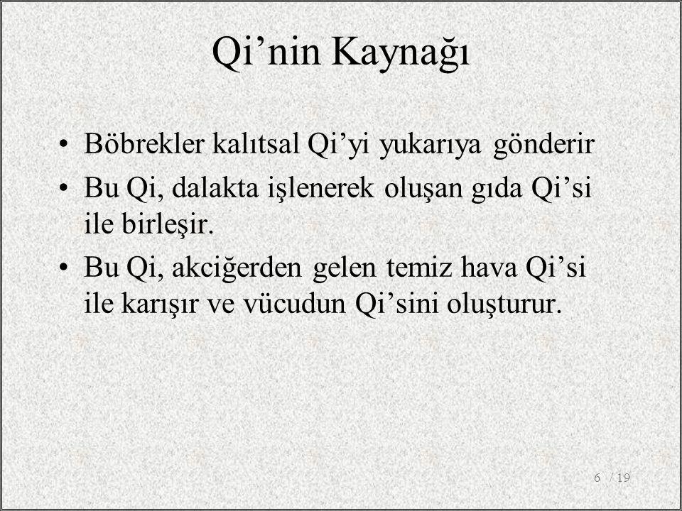 Qi'nin Kaynağı Böbrekler kalıtsal Qi'yi yukarıya gönderir Bu Qi, dalakta işlenerek oluşan gıda Qi'si ile birleşir.